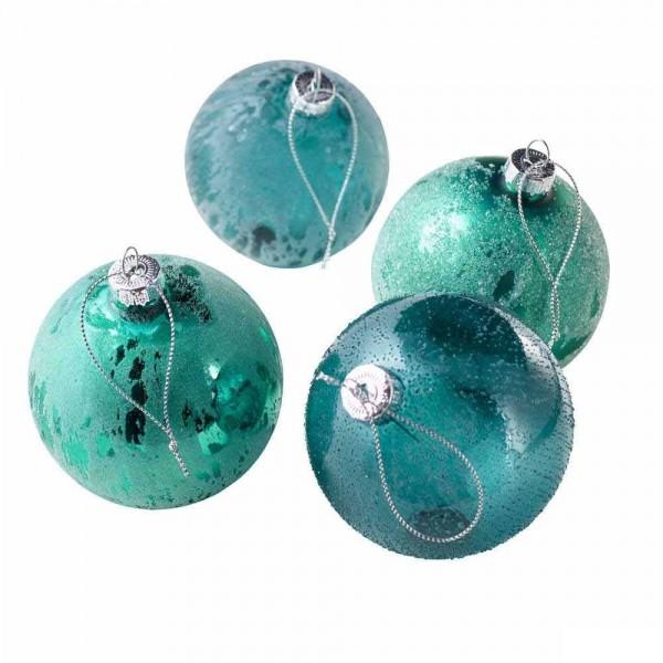 Baumschmuck Weihnachtskugeln in Grün (4 Stück)