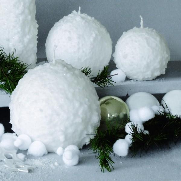 """Dekor Kerze """"Kugel Schnee"""" SC Weiß 02 (4 Stück)"""