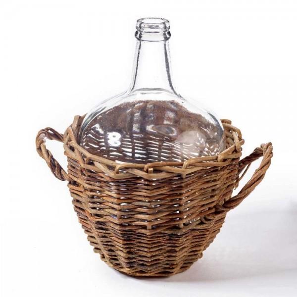 Glasflasche im Korb mit Henkel Korbflasche, Ballonflasche, Weinballon