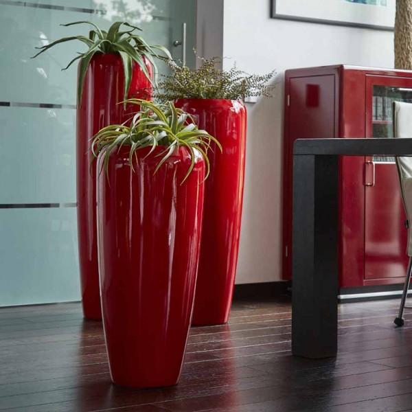 Vase Harmonia in Rot aus Glasfaser, Blumentopf,Pflanzentopf