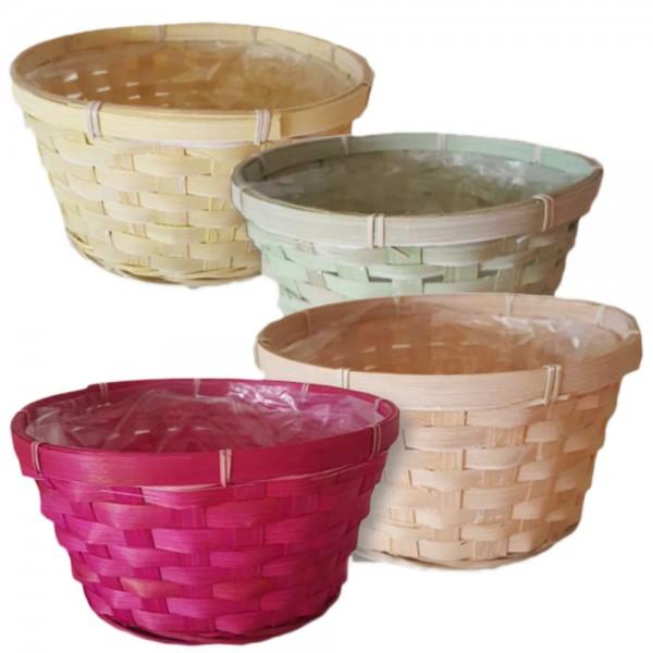 Schale aus Bambus mit Folie innen in vier Farben (8 Stück)