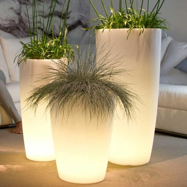 Vase Leucht Gefäß aus Kunststoff in Transparent/Weiß