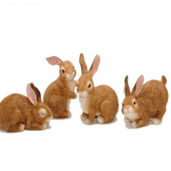 Hasen im Set aus Keramik in Sitzend und Liegend (4 Stück)