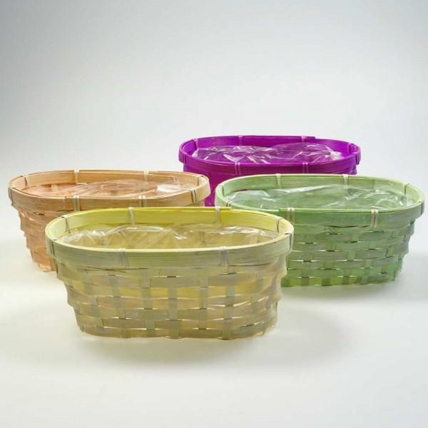 Ovale Jardiniere aus Bambus in vier Farben (Set=8 Stück)