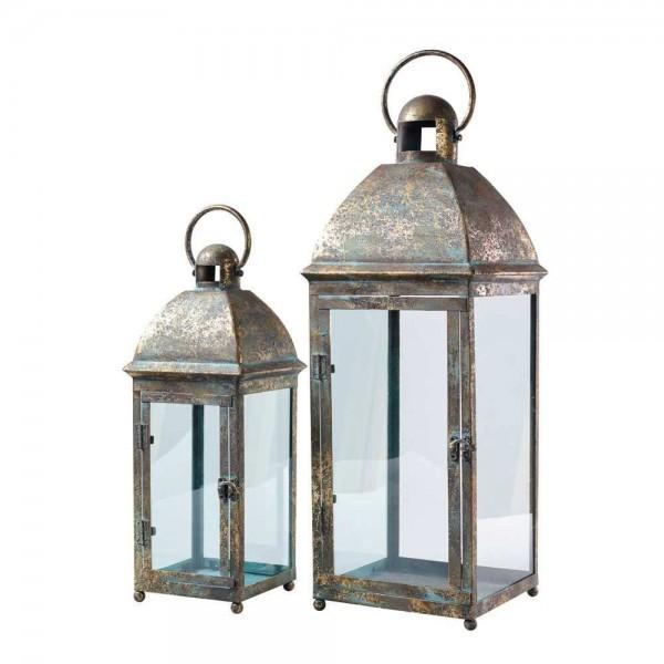 Metalllaterne mit Glas (Quatratisch im Set 2)