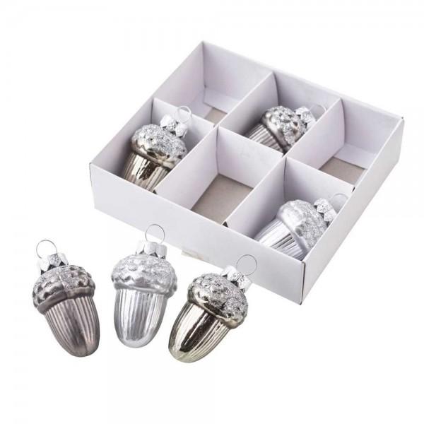 Eicheln zum hängen aus Glas in Silber (12 Stück)