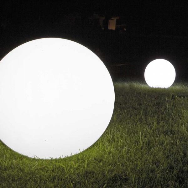 Kugel Leucht Gefäß aus Kunststoff in Transparent/Weiß