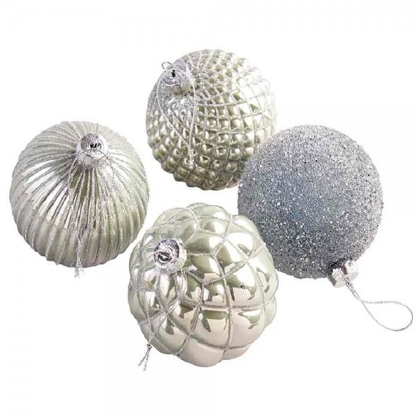 Glaskugeln zum Hängen Silberfarbig (12 Stück)