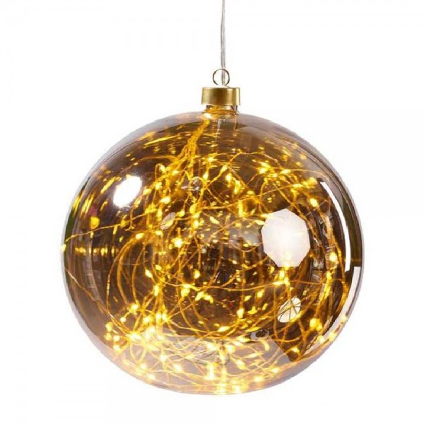 LED Glaskugel zum Hängen in Grau